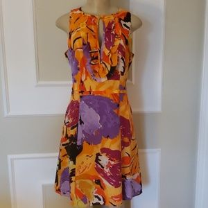 Nanette Lepore abstract floral keyhole dress
